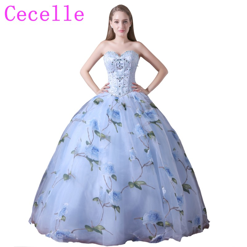 2018 New Fashion Ball Gown Blue Floral Print Prom Dresses Sweetheart ...