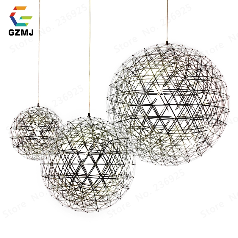 GZMJ Brief Spark Globe LED Pendant Lights Art Deco Firework Ball Stainless Steel Hanging Lamp Loft Light Fixtures for Home Decor-in Pendant Lights from Lights & Lighting