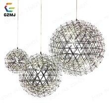 GZMJ קצר ספארק גלוב LED תליון אורות אמנות דקו זיקוקין כדור נירוסטה תליית מנורת לופט אור גופי עבור בית דקור