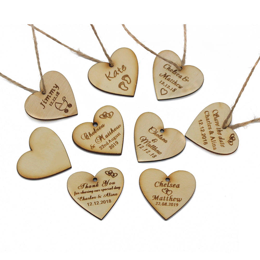 50pcs 40-50mm Personalized Laser Engraved Wedding Gifts Bridal Shower Baby Baptism Wood Love Heart Tags Party Decoration Favors