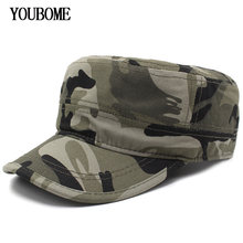 f892a67b786b7 Youbome hombres Sombreros militares camuflaje algodón papá gorras planas  mujeres gorras de béisbol para hombres SnapBack