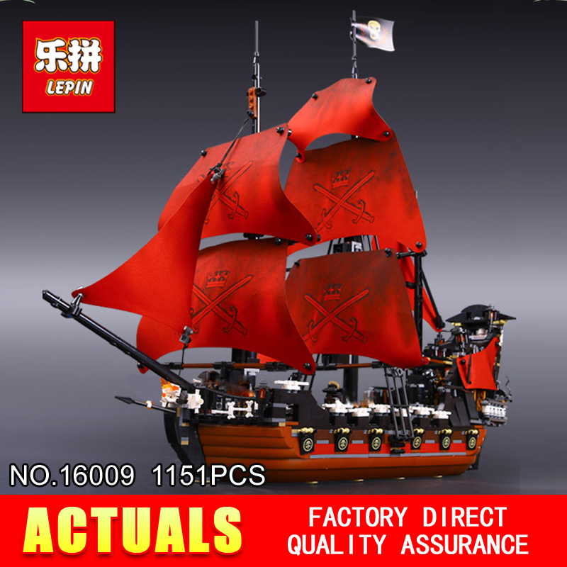 New LEPIN 16009 1151pcs Queen Anne's revenge Pirates of the Caribbean Building Blocks Set Compatible with 4195 lepin 22001 imperial warships 16009 queen anne s revenge model building blocks for children pirates toys clone 10210 4195