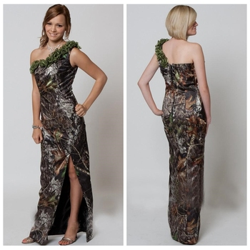 One Shoulder Sheath Camo Wedding Dresses Split Side Camouflage Bridal Gowns Slim Real Tree Style 2019 Cheap Vestidos De Mariee