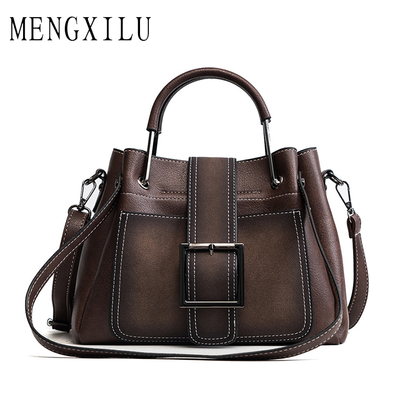 MENGXILU Bag Women Handbag Ladies Soft Pu Leather Bag Pin Type Women Bag Solid Fashion Shoulder Sac Metal Handle Casual Tote guapabien fashion trapeze handbag women pu leather metal lock mini bag solid black gray ol dress shoulder bag for ladies