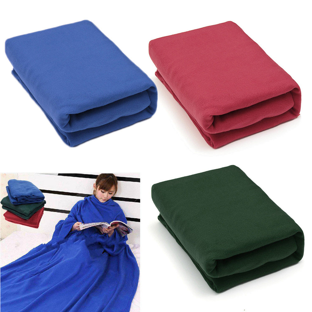 Home Winter Warm Cosy Thick Plush Snuggle Fleece Blanket With Sleeves TB Sale