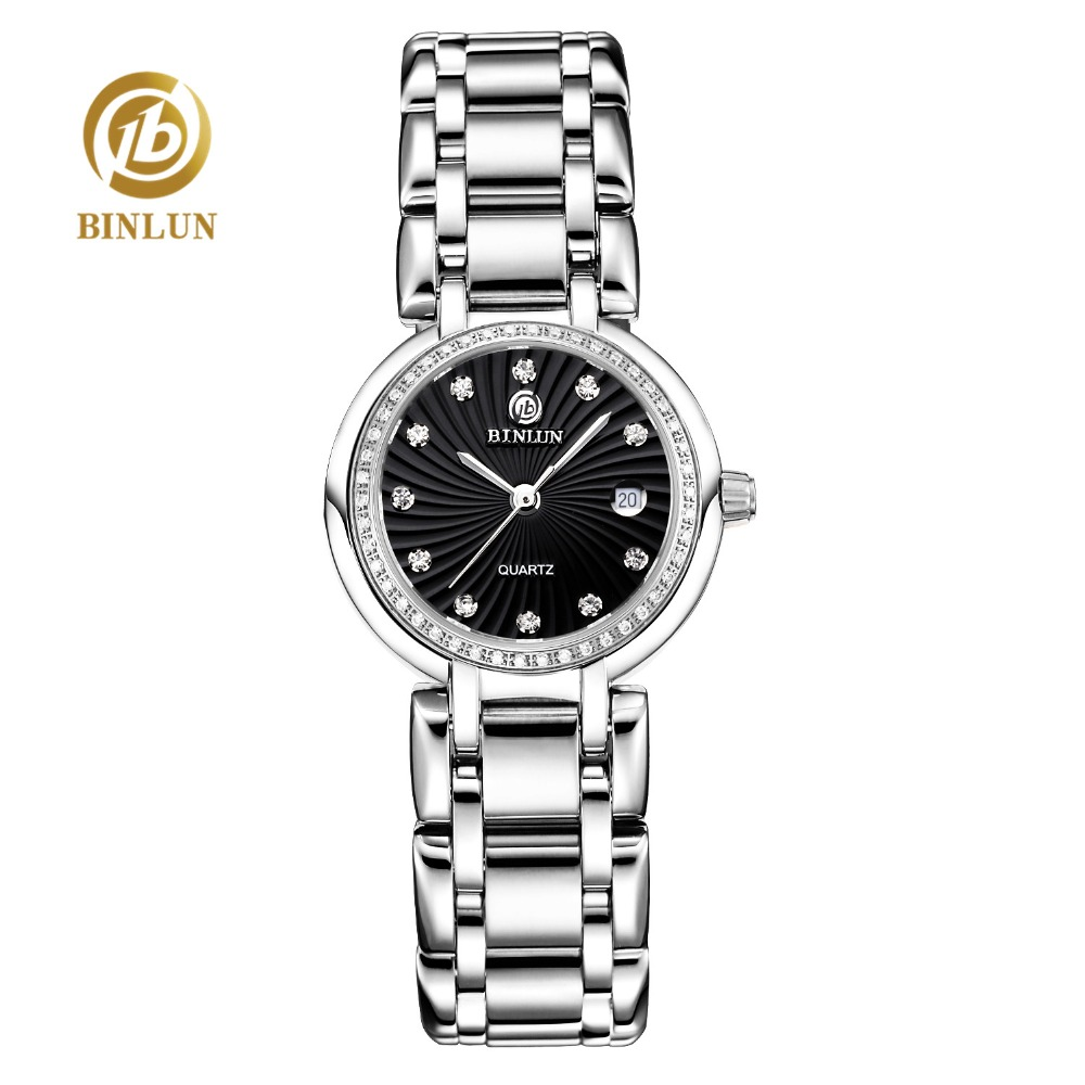 BINLUN 2018 New Women Quartz Watch Luxury Diamond Decoration Dial Auto Date Quartz Women's Watch Sapphire Scratch-proof Watch wecin f5049 female quartz watch with diamond decoration golden watch case