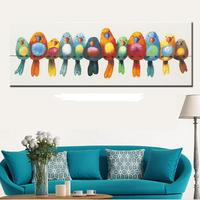 High Quality hand painted colorful parrots Oil Painting On Canvas Artist Handmade Abstract Knife animal Painting Wall Decoration
