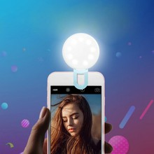 Beautify Selfie Flash Led light Camera Clip-on Mobile phone ring Night Enhancing Fill Light