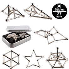 Funny 36PCS Innovative Buckyballs Magnetic Sticks & 27PCS Steel Balls Toy Building Blocks Puzzle Set For Pressure Relief