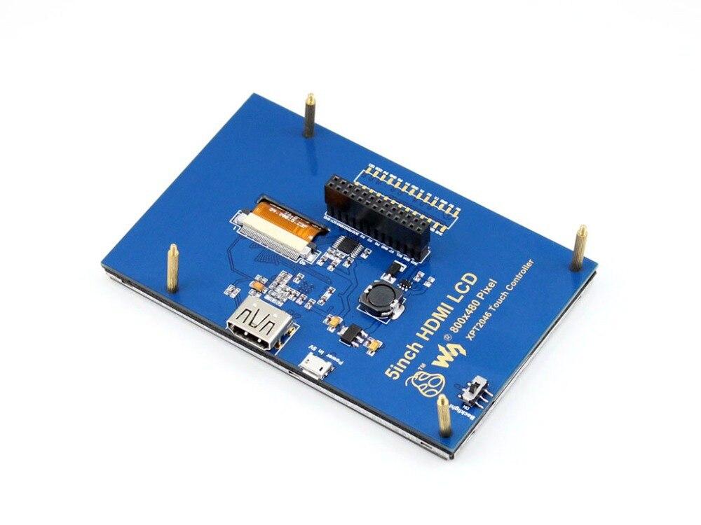 Waveshare 5inch HDMI LCD Resistive Touch Screen 800*480 LCD Display Module Supports Raspberry Pi 3B /2B A+/B/B+
