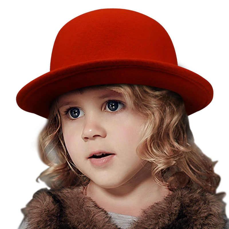 4bd7036b40932 New Vintage Soft wool Children   Girl Child kids Bowler Derby fedora crushable  hat 9 Colors