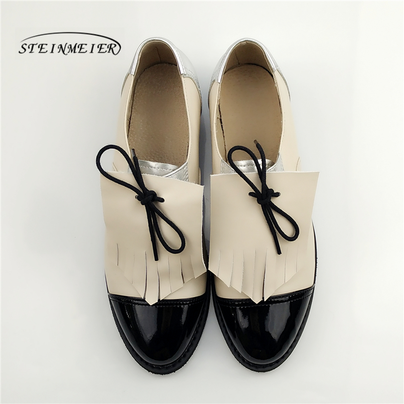 women Genuine leather casual shoes designer vintage flats shoes round toe handmade silver white pink oxford