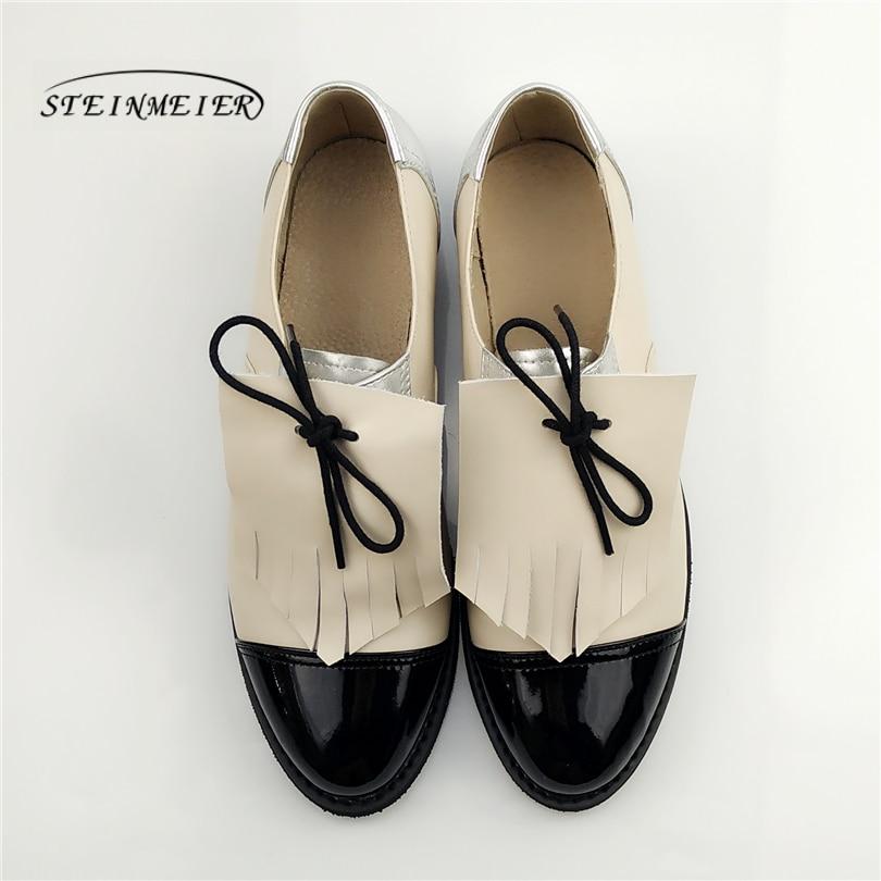 Zapatos casuales de cuero genuino de diseñador zapatos planos vintage punta redonda hechos a mano plata blanco rosa oxford zapatos para mujer-in Zapatos planos de mujer from zapatos    1