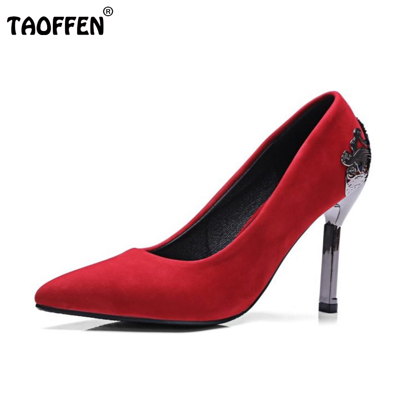 TAOFFEN Size 32-43 Women High Heel Shoes Women Thin Heels Pumps Pointed Toe Leisure Flock Vintage Wedding Daily Dress Shoes bowknot pointed toe women pumps flock leather woman thin high heels wedding shoes 2017 new fashion shoes plus size 41 42