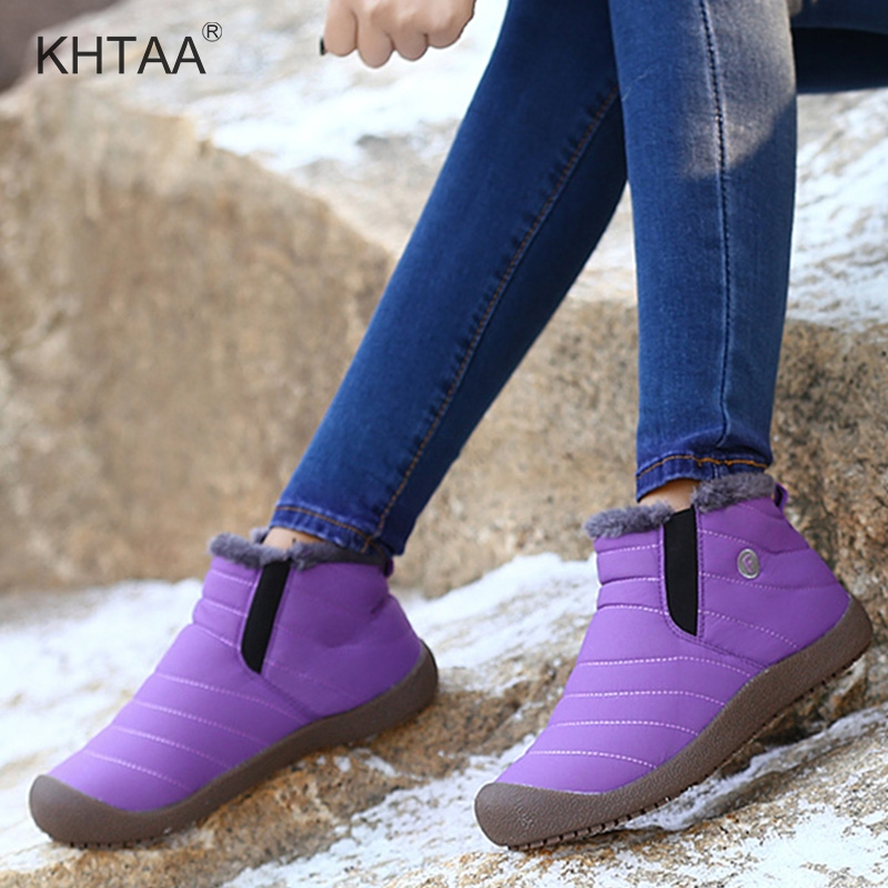 Plus Size Winter women's Ankle Snow Boots Warm Flat Platform Waterproof Slip On Ladies Shoes 2018 Fur Plush Footwear For Student