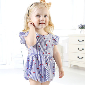 Ins Hot Baby Toddler Girls Striped Printed Cherry Cute Fruit Rompers Fly Sleeves Summer Infant Blue Pink Color Romper