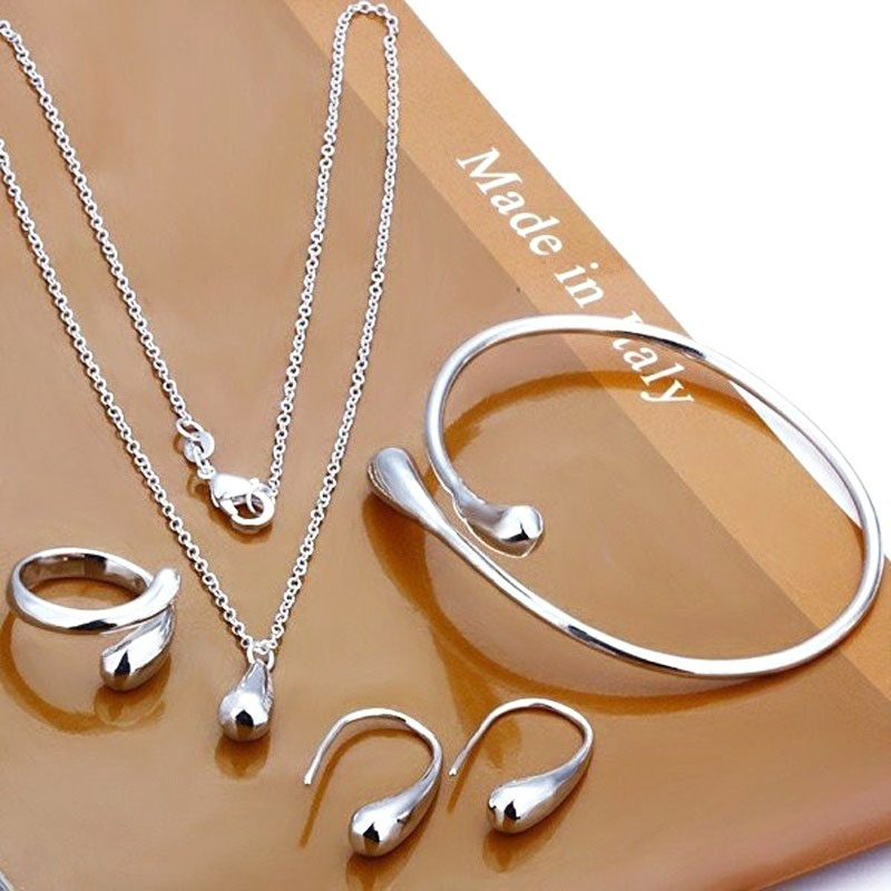 Fashion Silver Elegant Jewelry Sets Necklace Earrings Bracelet Alloy Women Jewelry Set For Women Girls