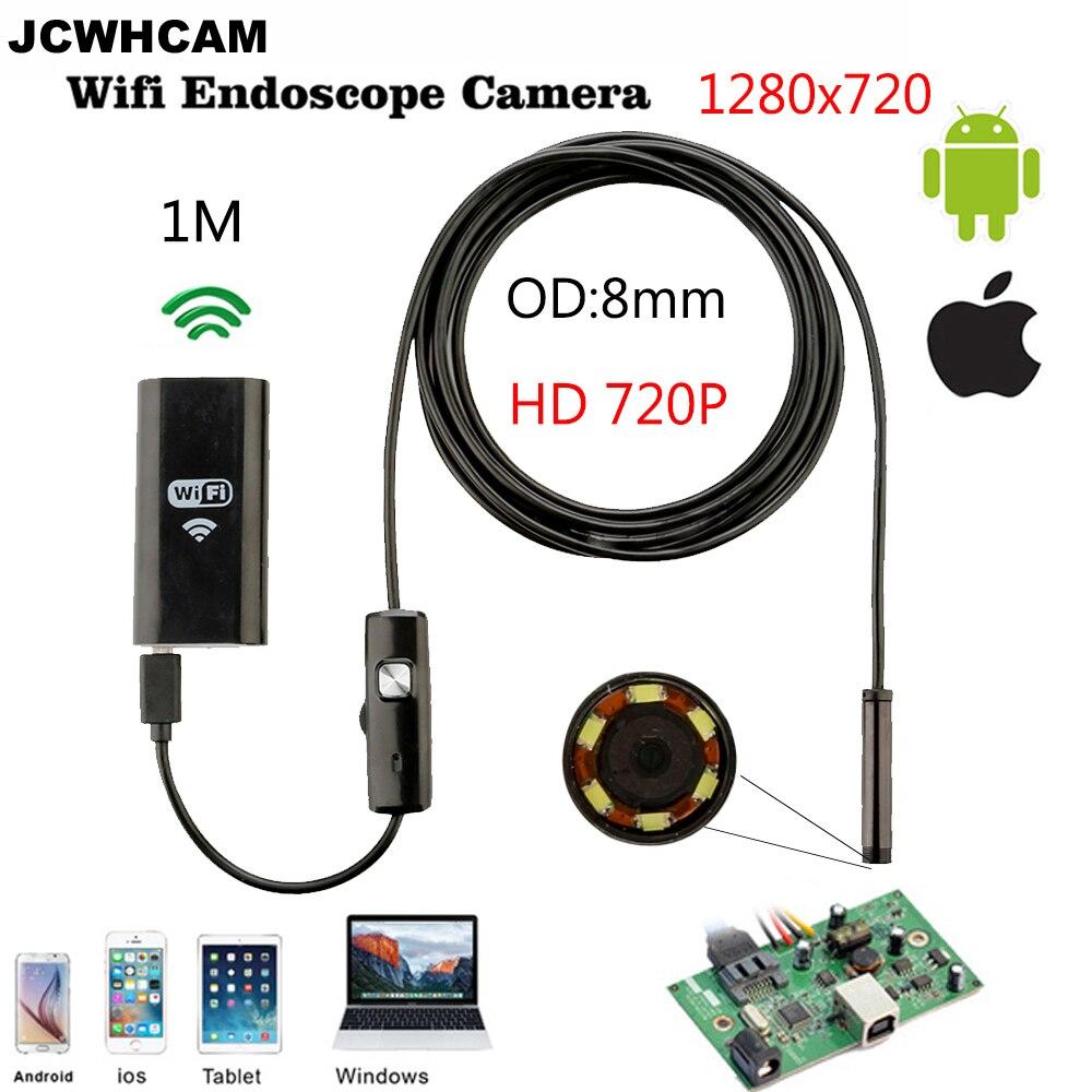 JCWHCAM 8mm 렌 와이파이 안드로이드 이오스 내시경 카메라 1M 2M 방수 스네이크 튜브 파이프 아이폰 카메라 내시경 용 내시경 720P