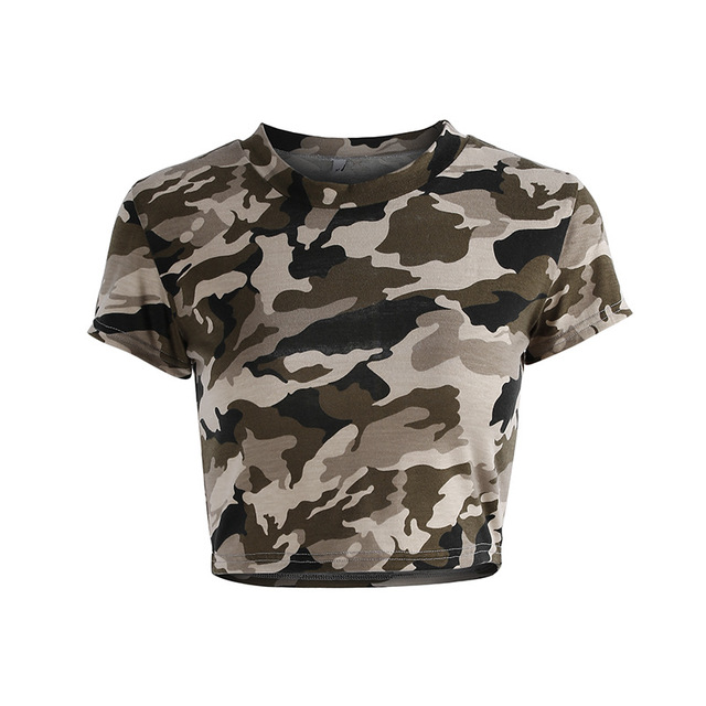 Women's Camouflage Print Sports Crop Top  2 Styles  S-L