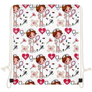 INSTANTARTS Newest Drawstrings Bag Cartoon Nurse Girls Printing Casual Women Fitness Shoulder Backpack Light Shopping Bags Soft