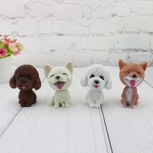 2019 Resin Cute Pomeranian Schnauzer Teddy Dog Statue Cartoon Can Shake The Head Model Car Home Decoration A