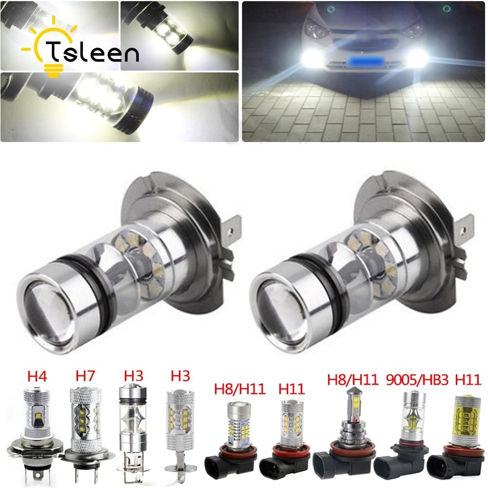 ①TSLEEN 2PCS Super Bright Cree LED Bulbs Car Kit H3 H4 H7 H11 HB3 ...