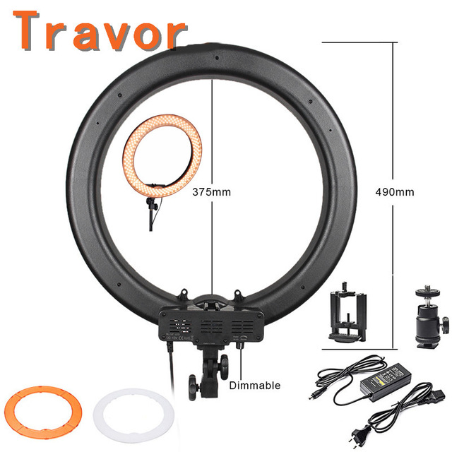 Travor 240pcs LED 5400K Dimmable 17Adjustable LED Ring Light Kit LED Camera Photo Video  ...