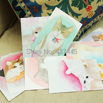 Free Shipping 30 Pcsset Hand Painting Cats Original Postcards