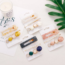 Oaoleer Hair Accessories 3 Pcs/Lot Acrylic Clips for Girls BB Pearls Hairpins Children Headbands Hairdress