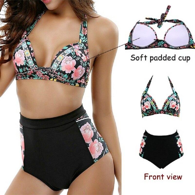 SEXYWG Sexy Bikinis Set Swimsuit Women Girls Swimwear Bikini High Waist Bottom Panties Print Summer Beach Swimming Bathing Suits