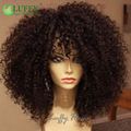 Luffy cabelo virgem mongol afro crespo cabelo crespo peruca sem cola bizarro encaracolado Cheia Do Laço Perucas de Cabelo Humano Para As Mulheres Negras 130 Densidade