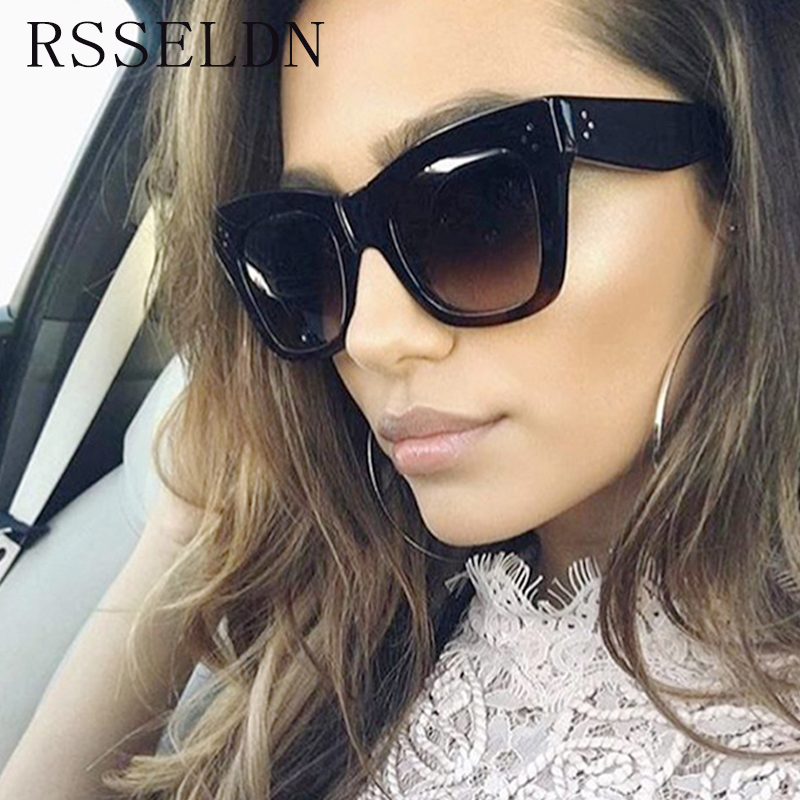 RSSELDN High Quality Vintage Women Sunglasses Brand Design Square Sun Glasses Female Summer Style Shades Rivet Eyewear Lunettes