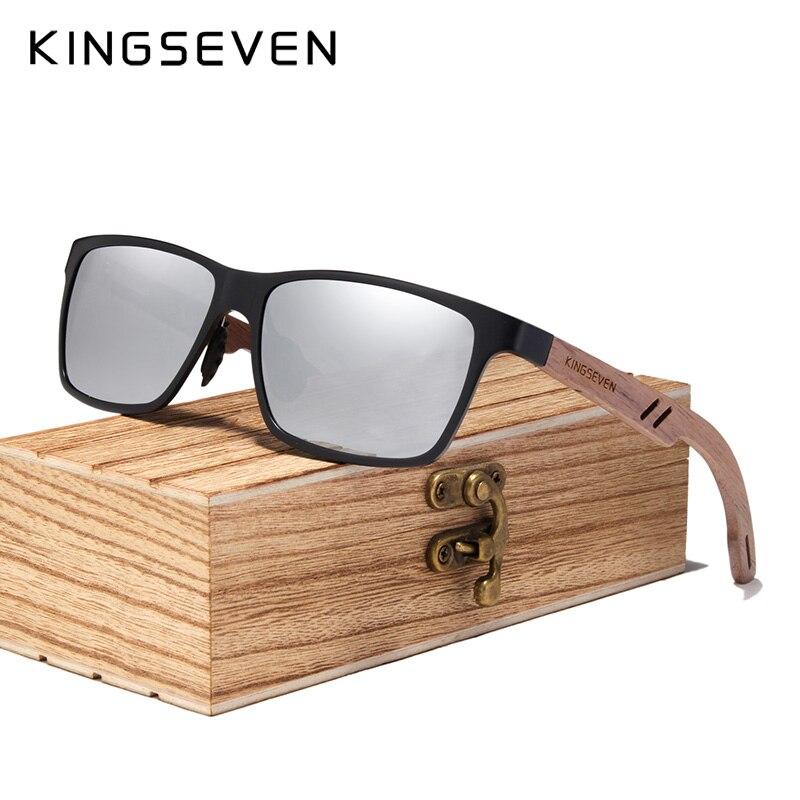 KINGSEVEN 2019 Homens Óculos Polarizados Óculos De Sol De Madeira de Madeira para As Mulheres Lente Espelho Moda Artesanal UV400 Acessórios Eyewear