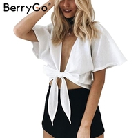 BerryGo Summer Deep V Neck Bow Crop Top Casual Short Sleeve White Tank Top Streetwear Sexy