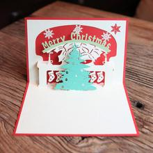 Creative Paper Craft Christmas Tree 3D Pop Up Greeting Cards DIY Postcards Invitations Card Merry 3pcs/lot