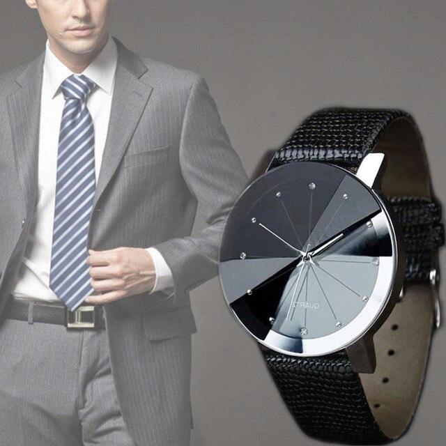 Mannen Sport Pols Hoge kwaliteit Mannen Luxe Dag Datum Rvs Wijzerplaat Klok Mannelijke Hoge kwaliteit Casual Quartz Horloge Lederen