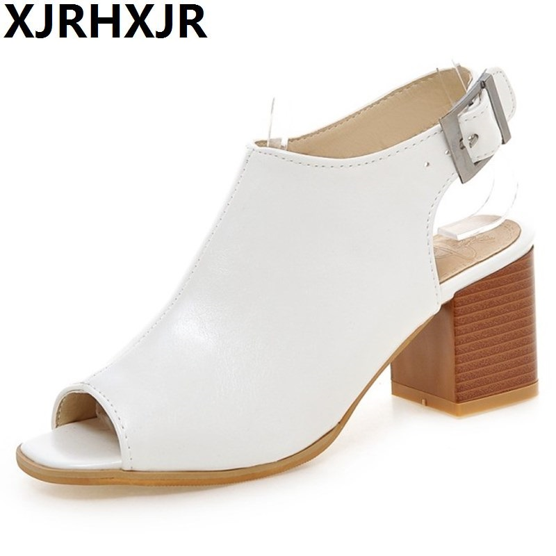 Summer Style Women Sandals Thick High Heel Sandles Open Toe Female Sandals Fish Head Fashion Ladies Shoes Black White new summer women sandals open toe women s sandles thick heel women shoes korean style gladiator shoes