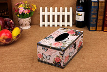 1PC Practical Retro Vintage Style Butterfly Shape Wood Tissue Box Home Livingroom Diningroom Decoration NA 008
