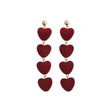 New flocking girl love exaggerated atmospheric long earrings personality fashion joker female tide in South Korea