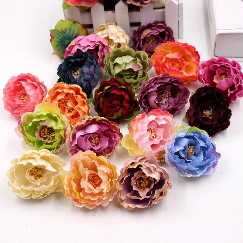 ᐃ5pcs 6cm artificial peony flower head DIY silk flower head wedding ...