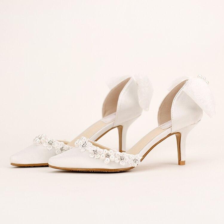 Elegant white flower rhinestone bridal shoes high heeled thin heels shoes sandals font b women s