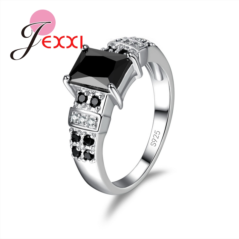 JEXXI Square Black 925 Sterling Silver Fashion Rings for Women CZ Crystal Wedding Engagement Wholesale Fashion Jewelry Wholesale
