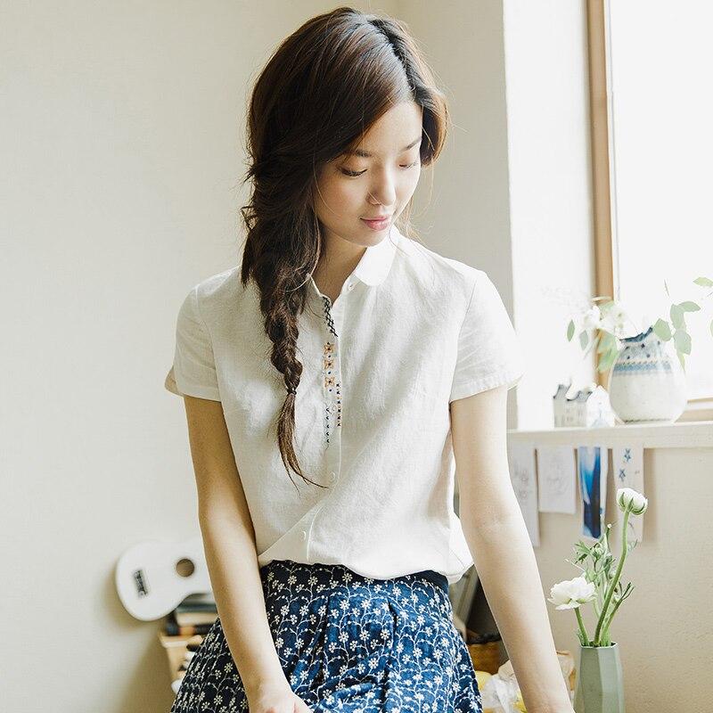 INMAN Women's Florals Embroidered Cotton And Linen Short Sleeve Shirt Linen