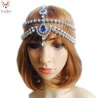 BLUE Gold Color Fake Pearl Prom Wedding Bridal Goddess Bohemian Boho Grecian Head Chain Hair Jewelry