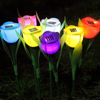 Romantic Solar LED Light Tulip Lawn Landscape Decorative Outdoor Garden Pathway Lights Lamp Christmas New Year