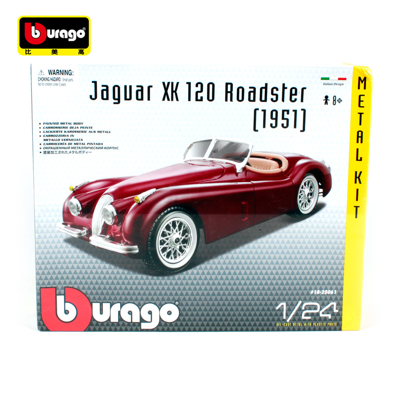 Bburago 1:24 1951 Jaguar XK 120 Roadster Assembly DIY Racing Diecast Model Kit Kits Car Toy New In Box Free Shipping 25061 new diy analog delay 1 pedal kits with 1590b diecast aluminium box free shipping