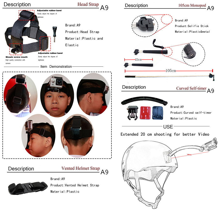 A9 Para Gopro set de accesorios go pro kit mount SJCAM Xiaomi Yi para - Cámara y foto - foto 6