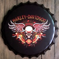 40cm Harley Davidson Bottle Cap Vintage Home Decor Tin Sign Bar Wall Decor Metal Sign 3D