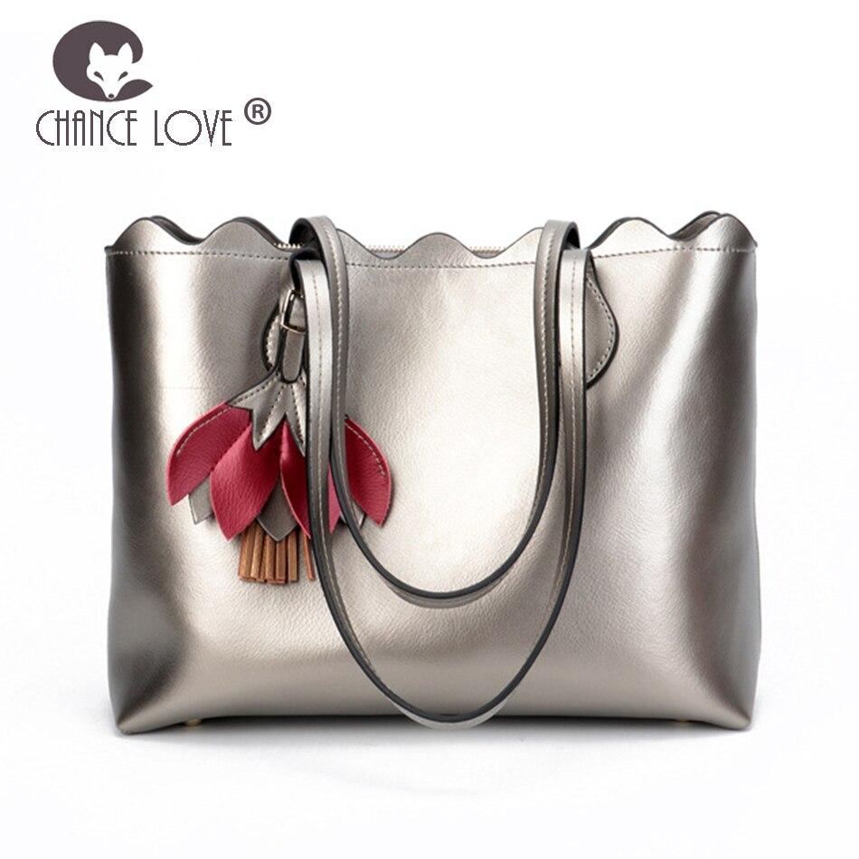 bfa859990b98a8 Chance Love 2018 new Genuine leather handbag casual Gold blue Silver  shoulder bag Cut flowers tassel bag Fashion shopping