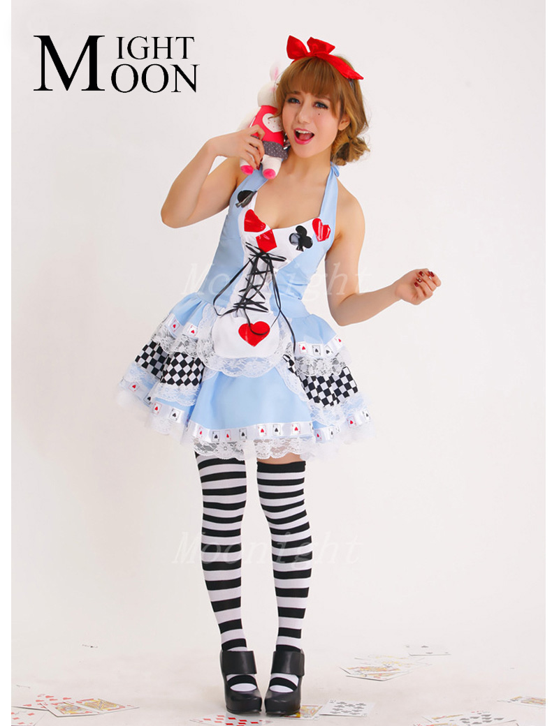 Moonight Plus Size New Sexy Queen Of Hearts Halloween Costumes For Women Costume Alice -2510